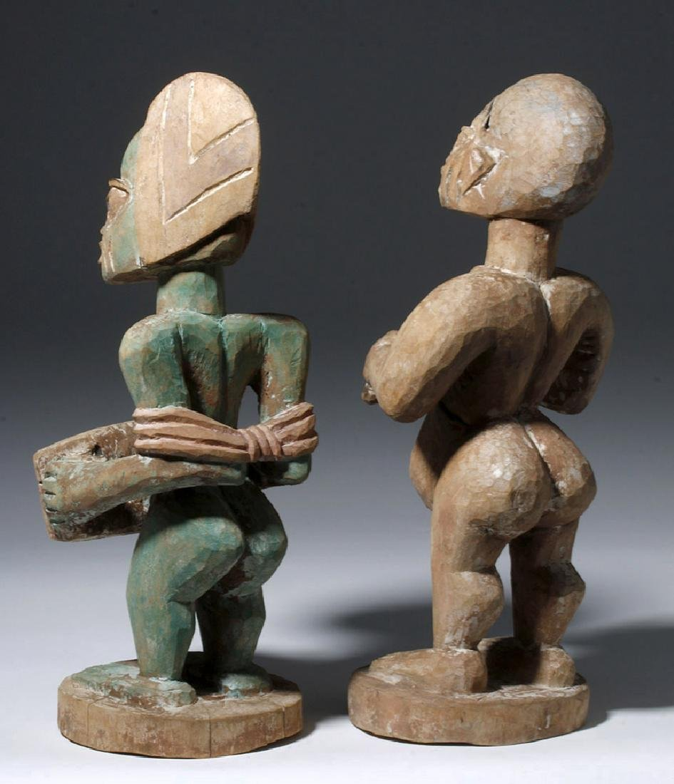 Matched Pair 20th C. Nigerian Wood Carved Figures - 2