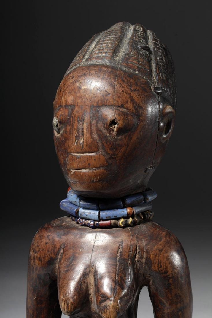 Superb African Carved Wooden Ibeji Female Twin - 5