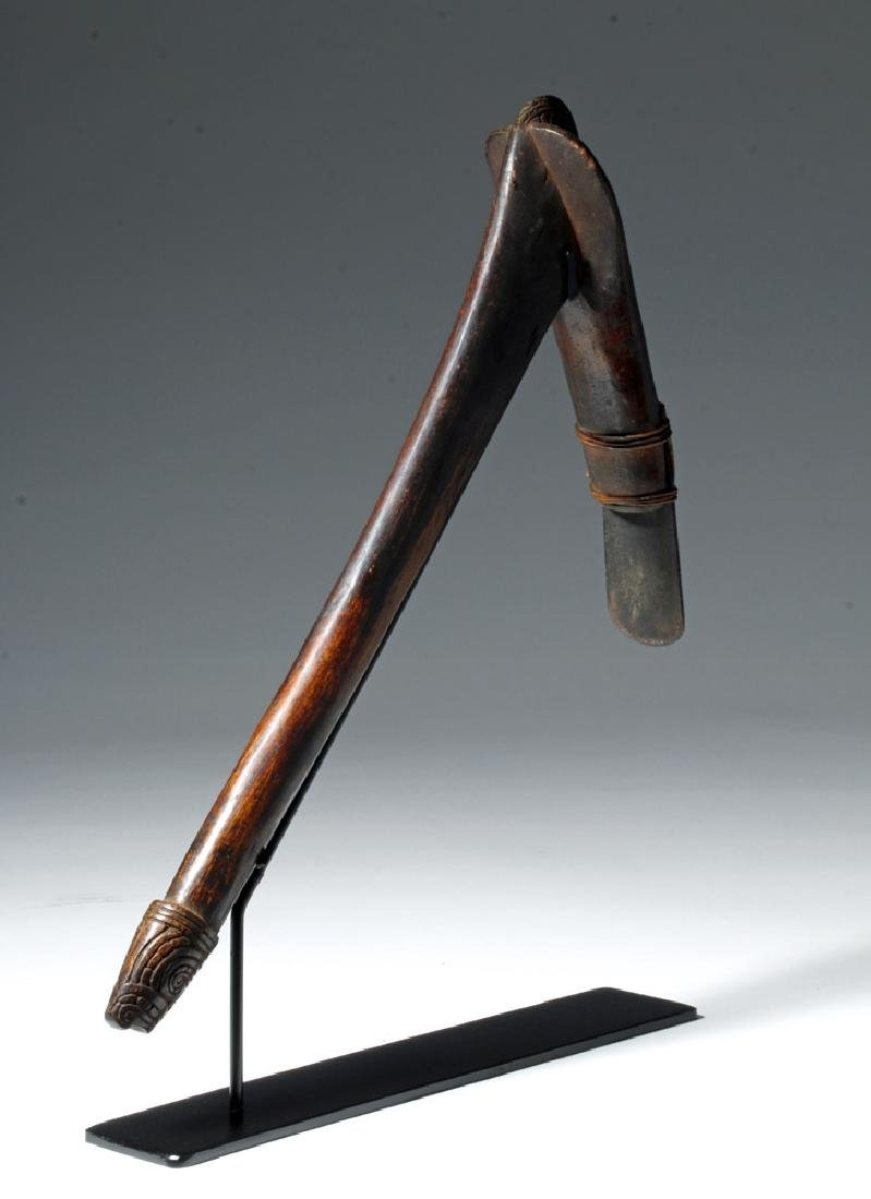 19th C. Trobriand Islands Wood Adze w/ Metal Blade - 3