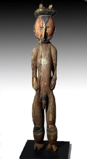 Early 20th C. PNG Painted Wood Male Ancestor Figure