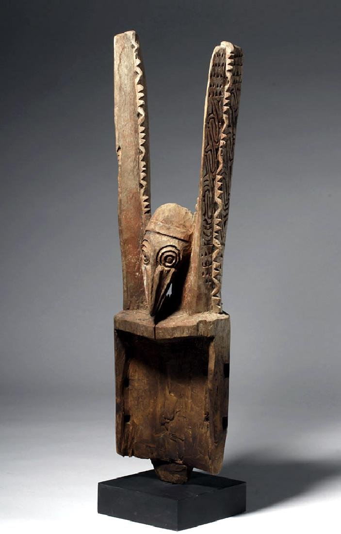 20th C. PNG Carved Wood Post, Janus-Headed Bird