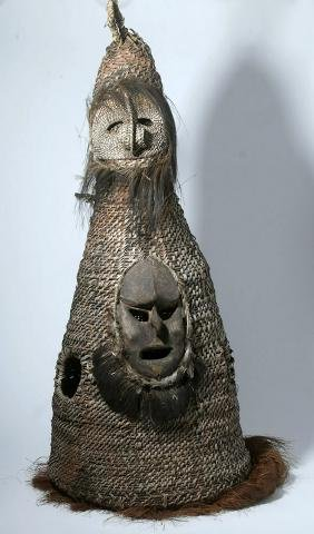 20th C. PNG Sepik River Woven Dance Costume - 5 ft!