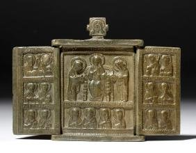 18th C. Russian Brass Traveling Triptych Icon