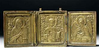 19th C Russian Brass Traveling Icon
