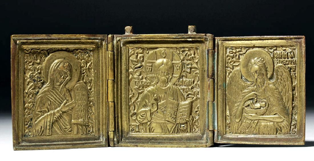 19th C. Russian Brass Traveling Icon