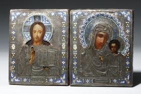 19th C. Russian Icons in Silver Oklads (matched pair)
