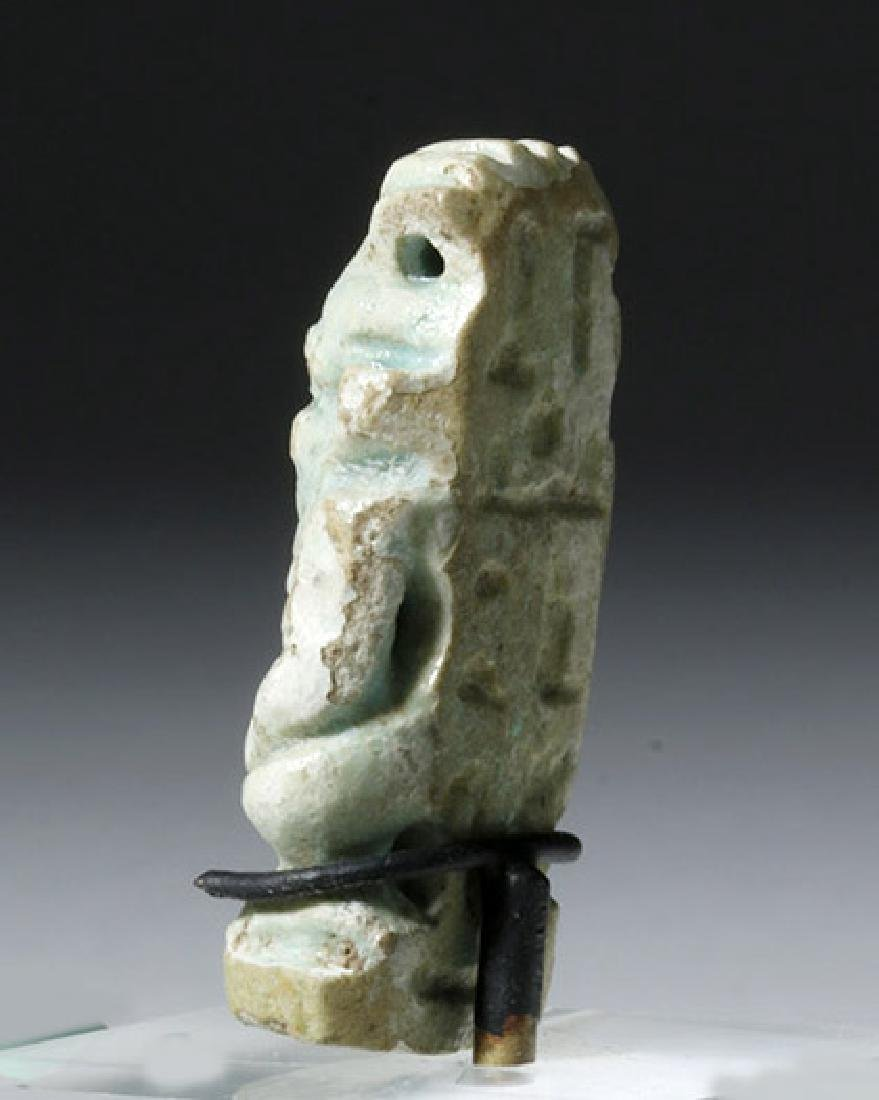 Wonderful Egyptian Faience Bes Amulet w/ Glyph Band - 2