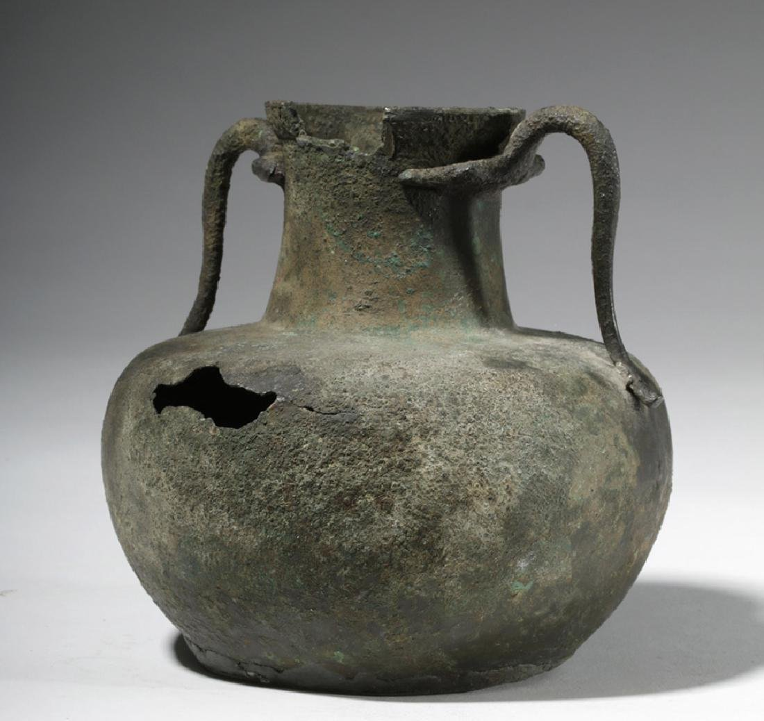 Roman Bronze Two-Handled Jug - 3