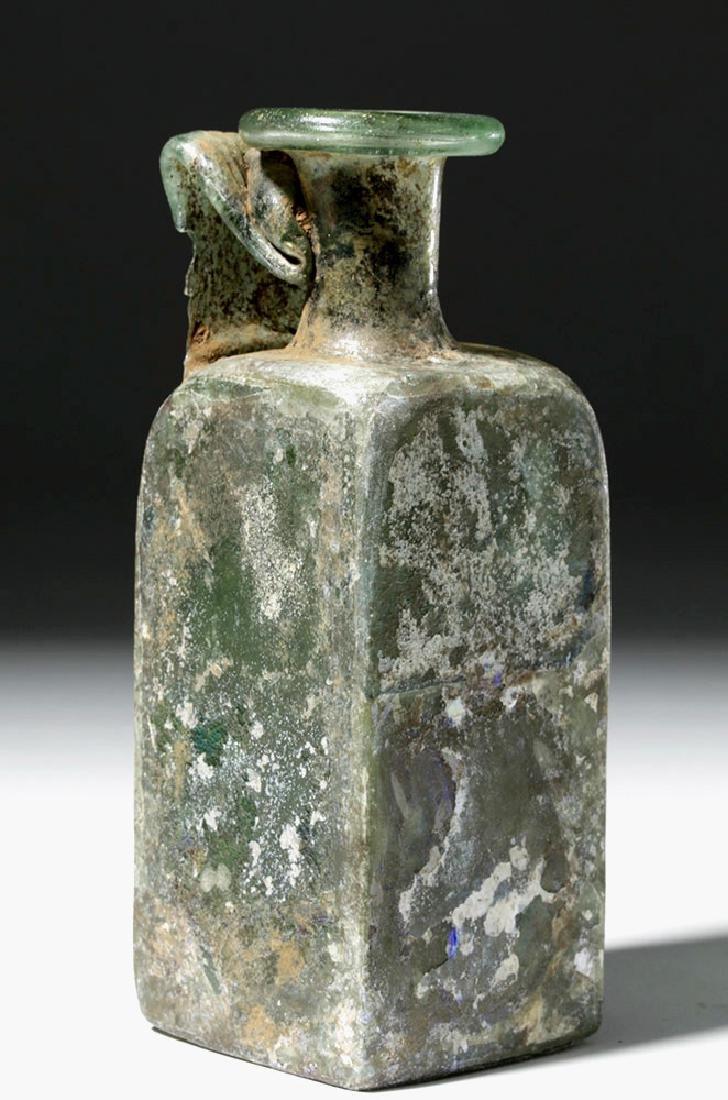 Roman Square Green Glass Bottle w/ Strap Handle