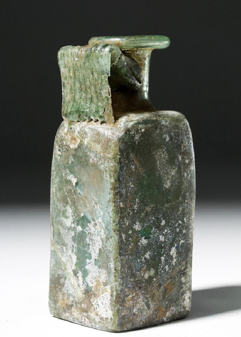 Roman Square Green Glass Bottle w/ Strap Handle - 2