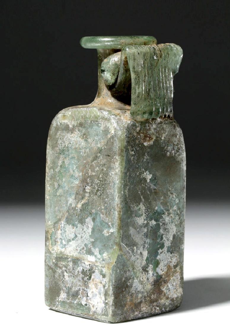 Roman Square Green Glass Bottle w/ Strap Handle - 3