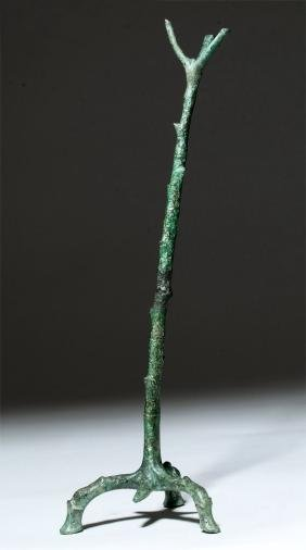 Roman Bronze Oil Lamp Stand in Tree Form