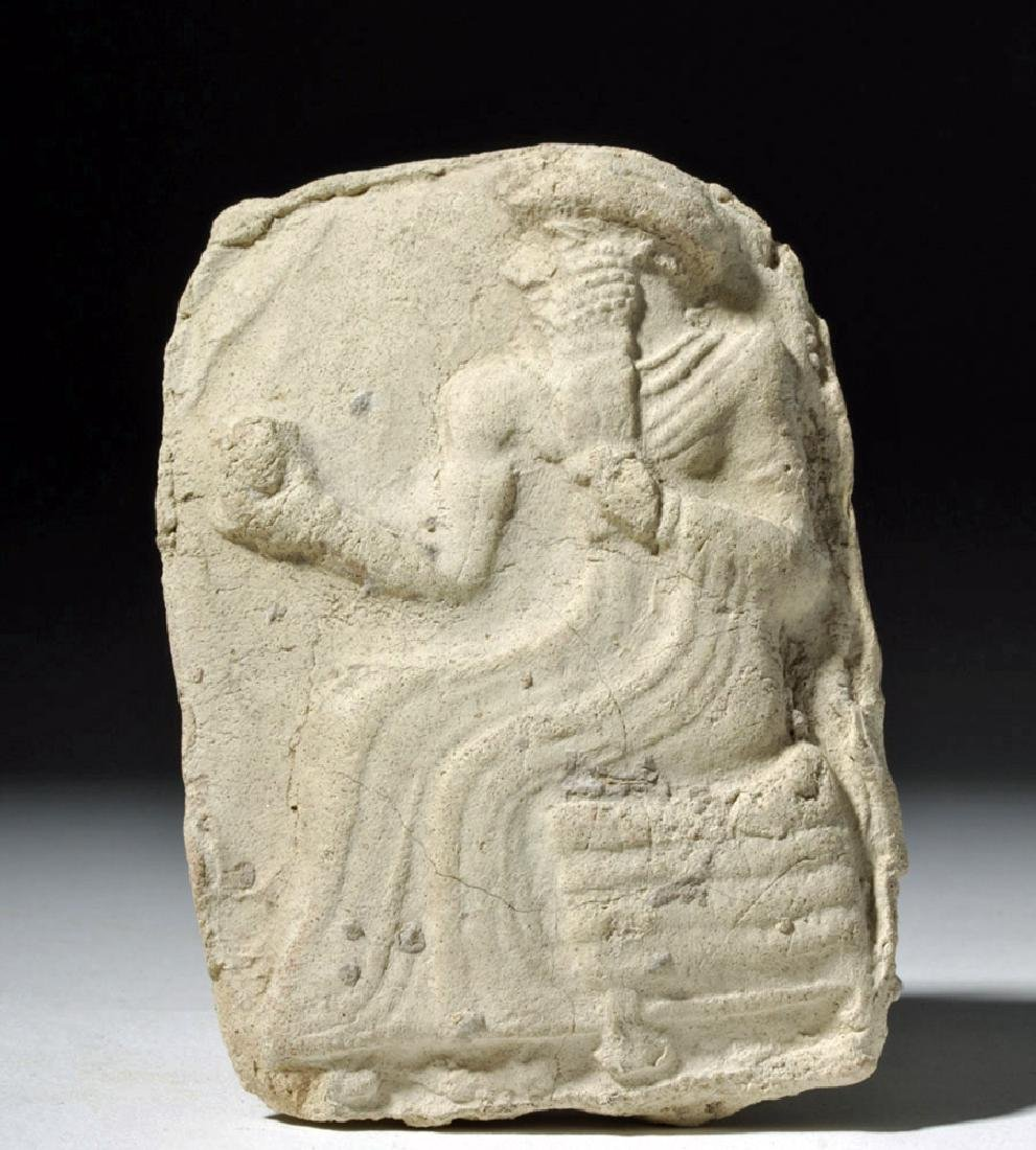 Babylonian / Sumerian Pottery Plaque - Enthroned King