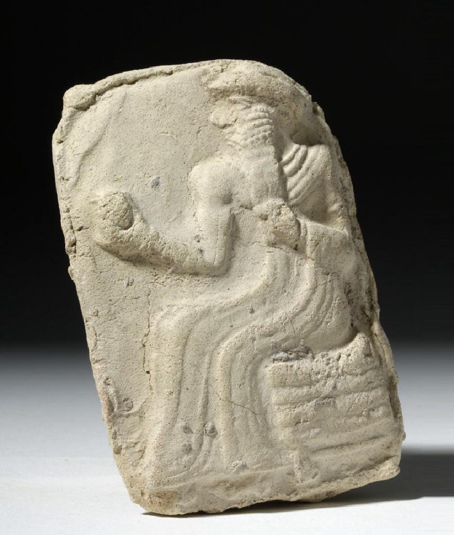 Babylonian / Sumerian Pottery Plaque - Enthroned King - 5