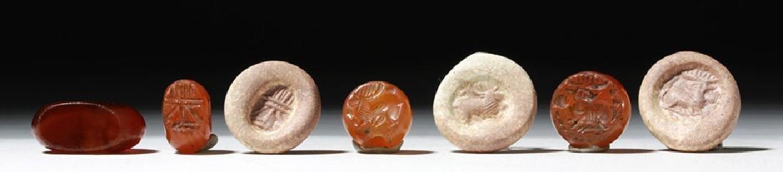 Lot of 4 Sassanian Carnelian Stone Seal Beads