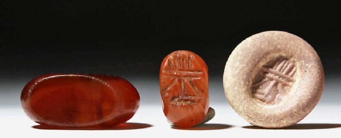 Lot of 4 Sassanian Carnelian Stone Seal Beads - 2