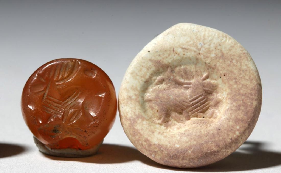 Lot of 4 Sassanian Carnelian Stone Seal Beads - 3