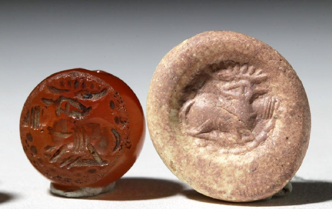 Lot of 4 Sassanian Carnelian Stone Seal Beads - 4