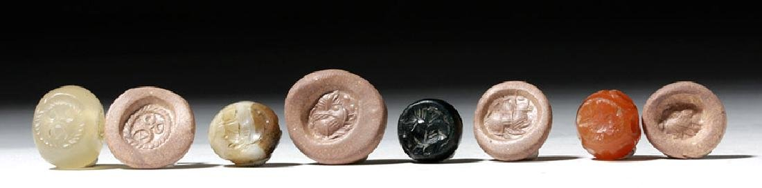 Lot of 4 Sassanian Mixed Stone Seal Beads