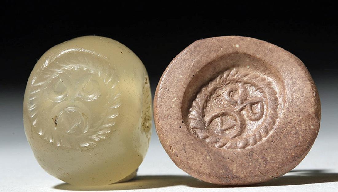 Lot of 4 Sassanian Mixed Stone Seal Beads - 2