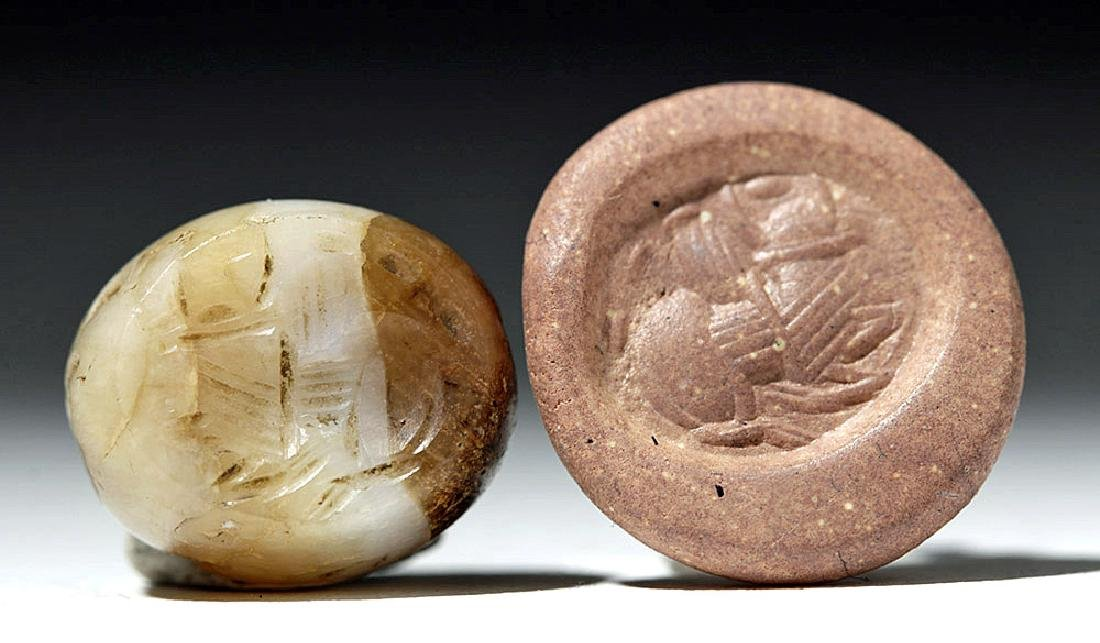 Lot of 4 Sassanian Mixed Stone Seal Beads - 3