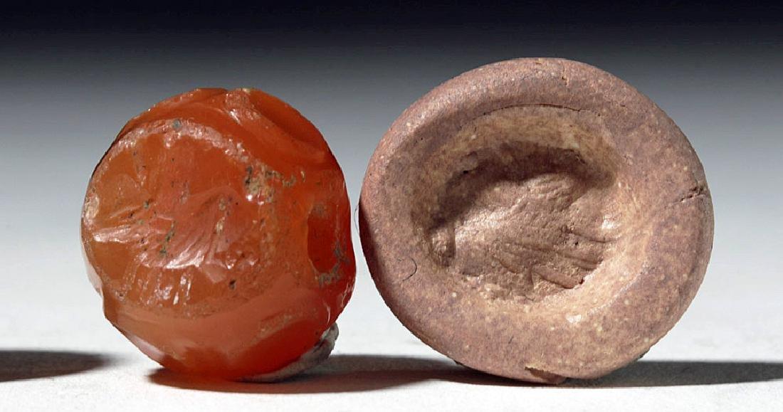 Lot of 4 Sassanian Mixed Stone Seal Beads - 5