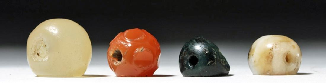 Lot of 4 Sassanian Mixed Stone Seal Beads - 7