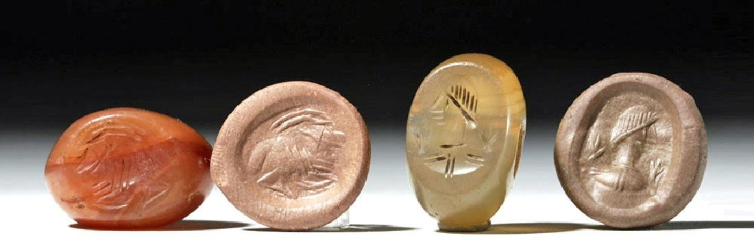 Lot of 2 Large Sassanian Stone Seal Beads