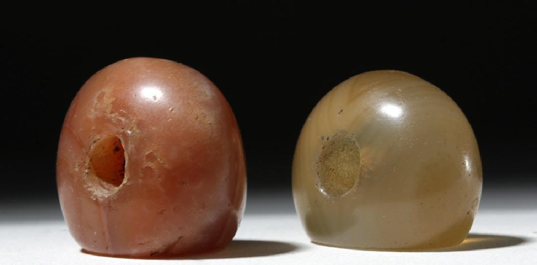 Lot of 2 Large Sassanian Stone Seal Beads - 2