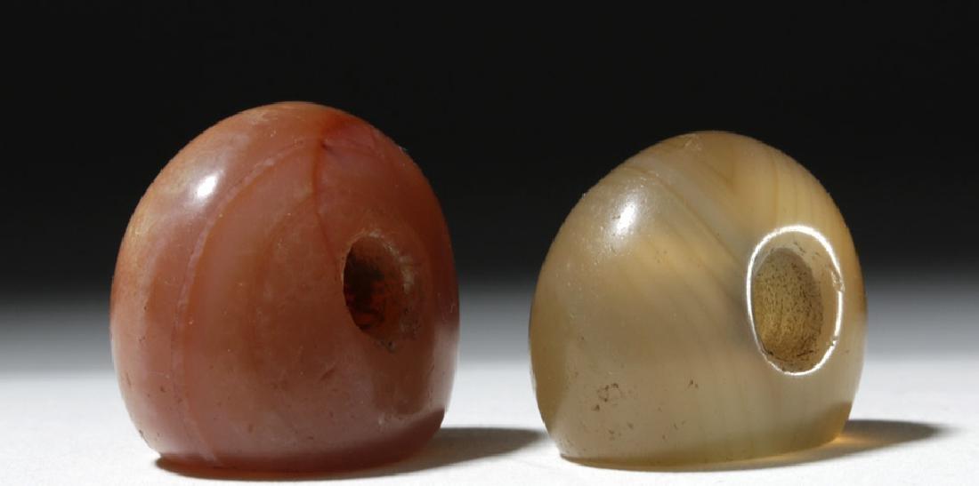 Lot of 2 Large Sassanian Stone Seal Beads - 3