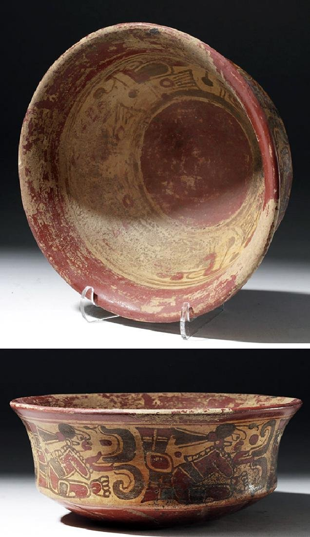 Mayan Copador Pottery Bowl w/ Scribes & Birds