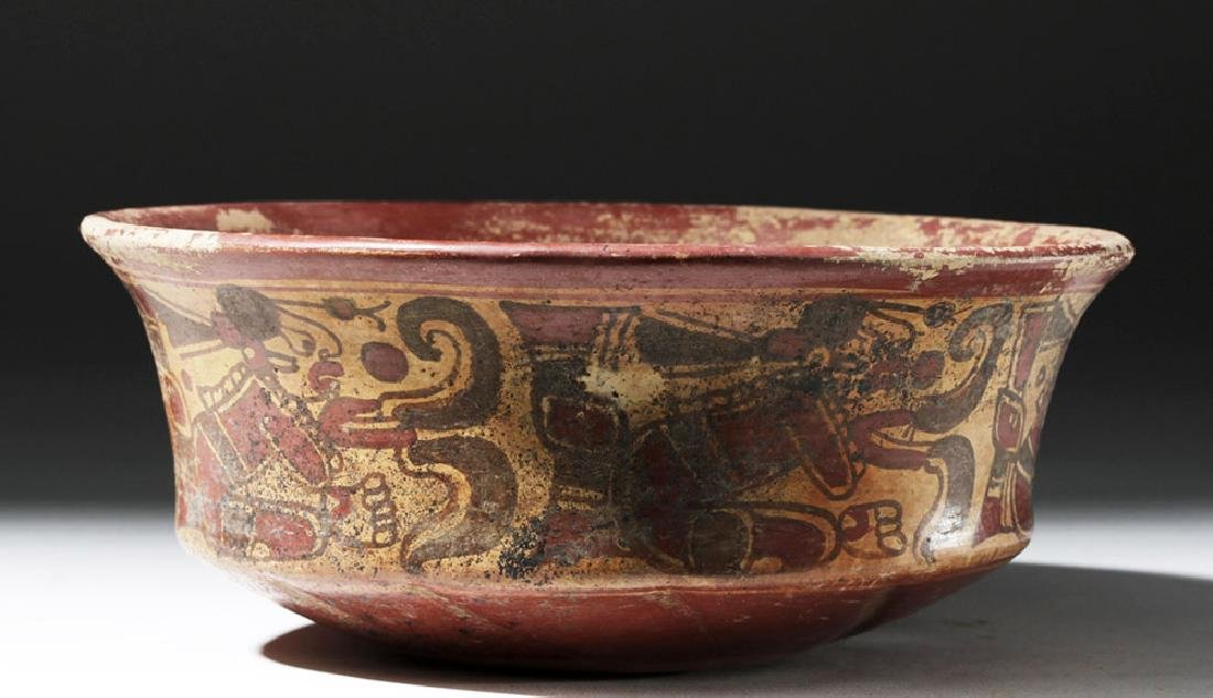 Mayan Copador Pottery Bowl w/ Scribes & Birds - 2