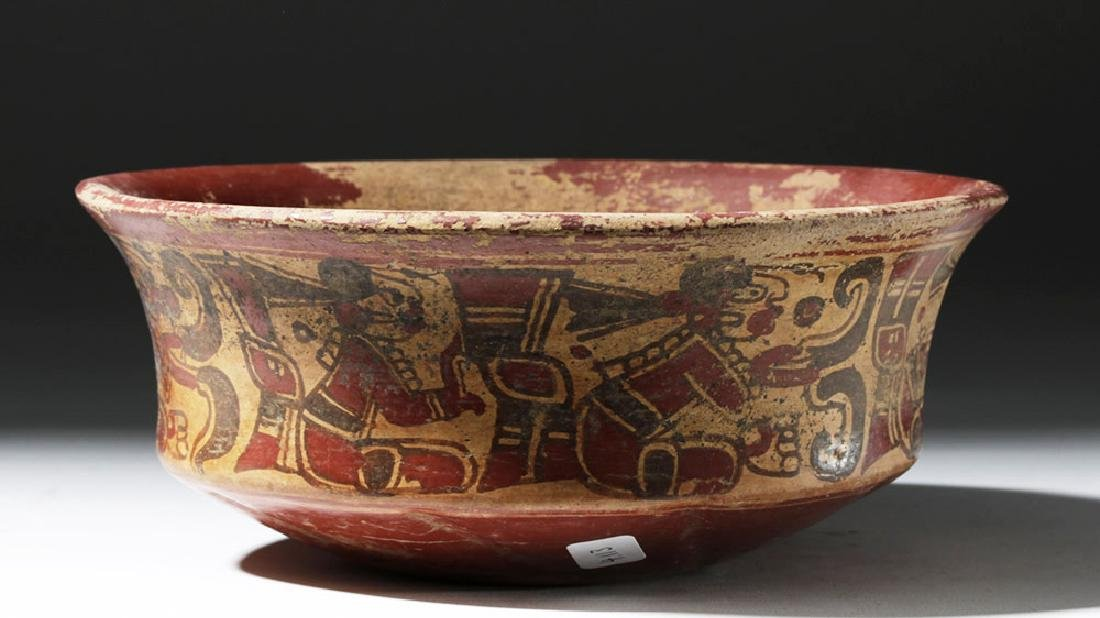 Mayan Copador Pottery Bowl w/ Scribes & Birds - 3