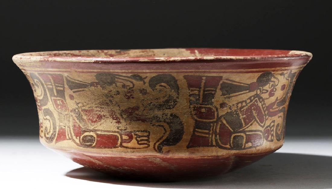 Mayan Copador Pottery Bowl w/ Scribes & Birds - 4