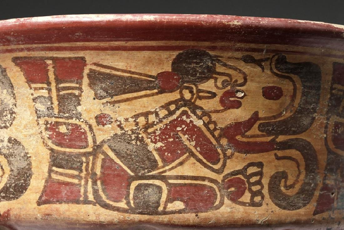 Mayan Copador Pottery Bowl w/ Scribes & Birds - 5