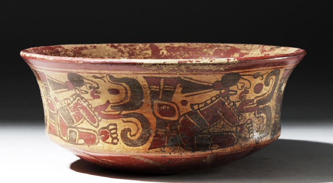 Mayan Copador Pottery Bowl w/ Scribes & Birds - 8