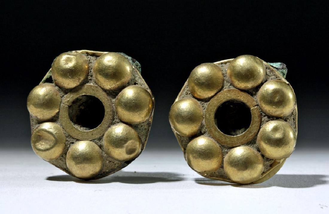 Matched Pair of Inca Gold & Copper Ear Spools