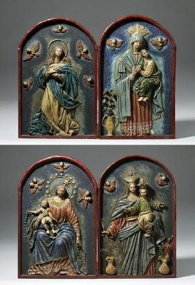 19th C. 4 Mexican Papier Mache Religious Icons - Mary