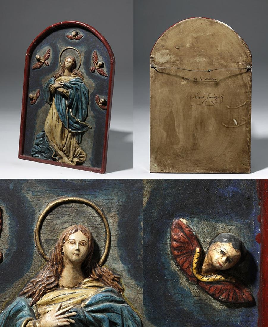 19th C. 4 Mexican Papier Mache Religious Icons - Mary - 2