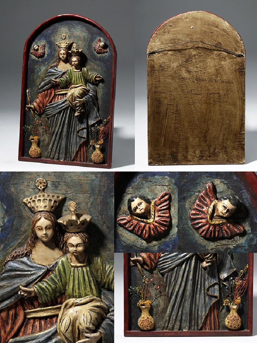 19th C. 4 Mexican Papier Mache Religious Icons - Mary - 5