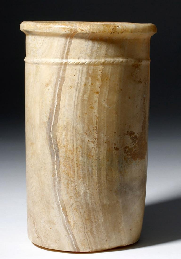 Gorgeous / Tall Ancient Egyptian Alabaster Stone Vessel