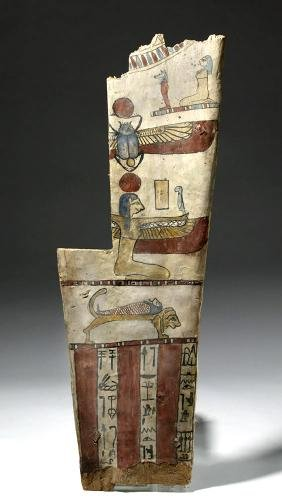 Egyptian Late Dynastic Wooden Sarcophagus Panel