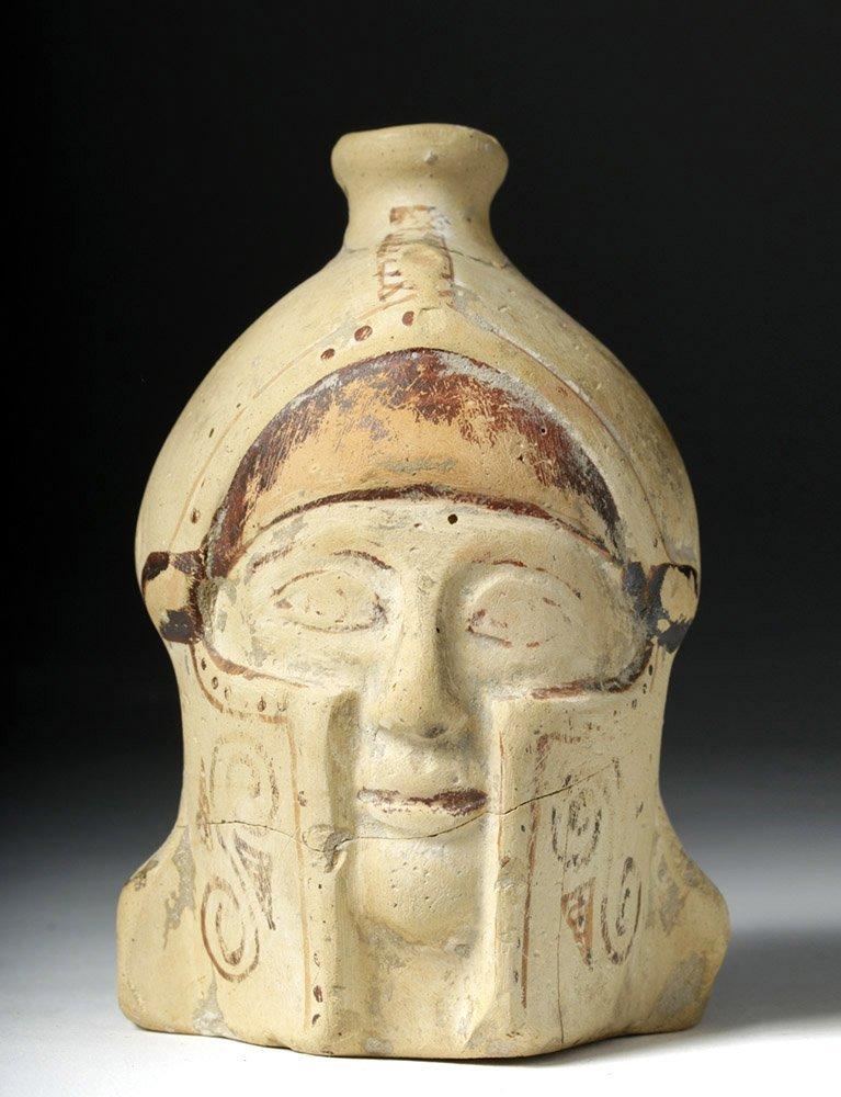 Greek Corinthian Aryballos of Helmeted Warrior - Rare!