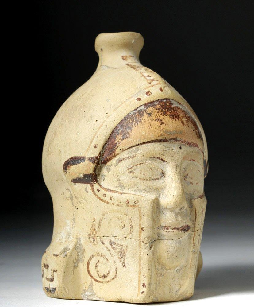 Greek Corinthian Aryballos of Helmeted Warrior - Rare! - 4
