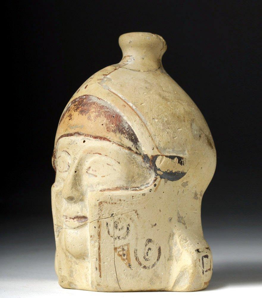 Greek Corinthian Aryballos of Helmeted Warrior - Rare! - 5