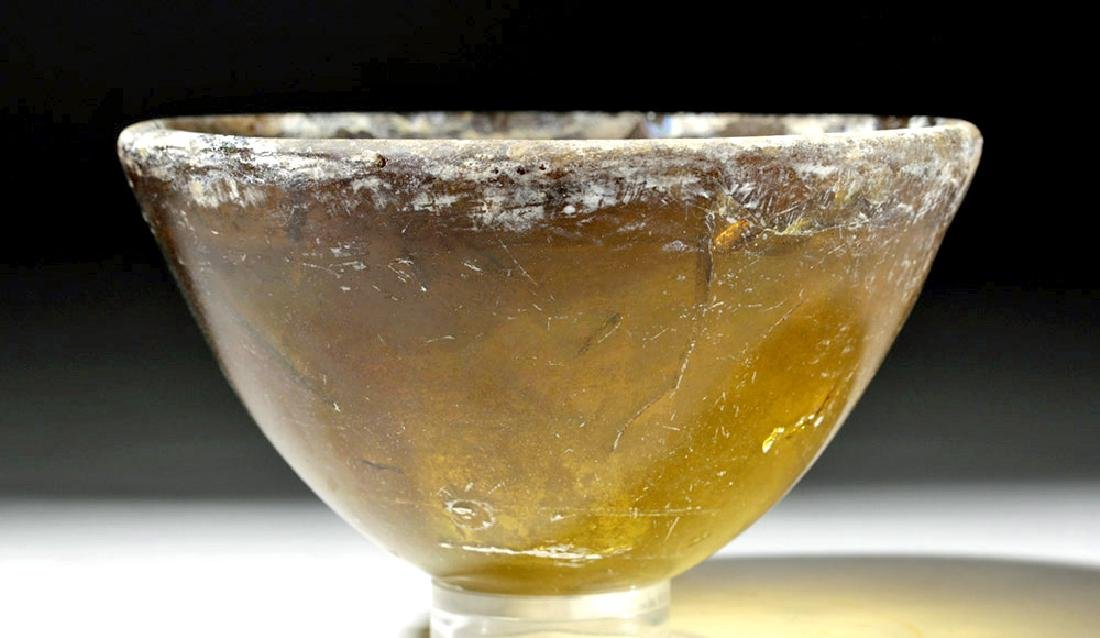 Rare Hellenistic Amber Glass Conical Bowl - 4