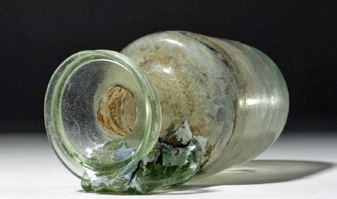 Large Roman Green Glass Vessel w/ Wide Ribbon Handle - 5