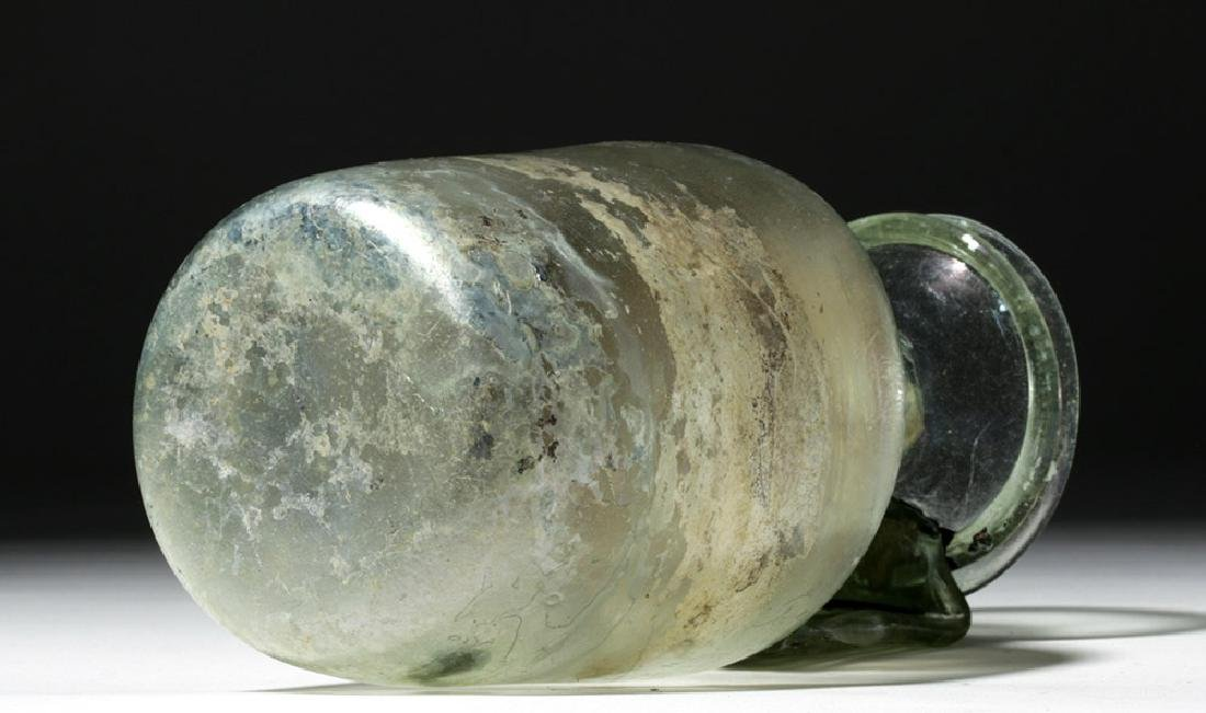 Large Roman Green Glass Vessel w/ Wide Ribbon Handle - 6
