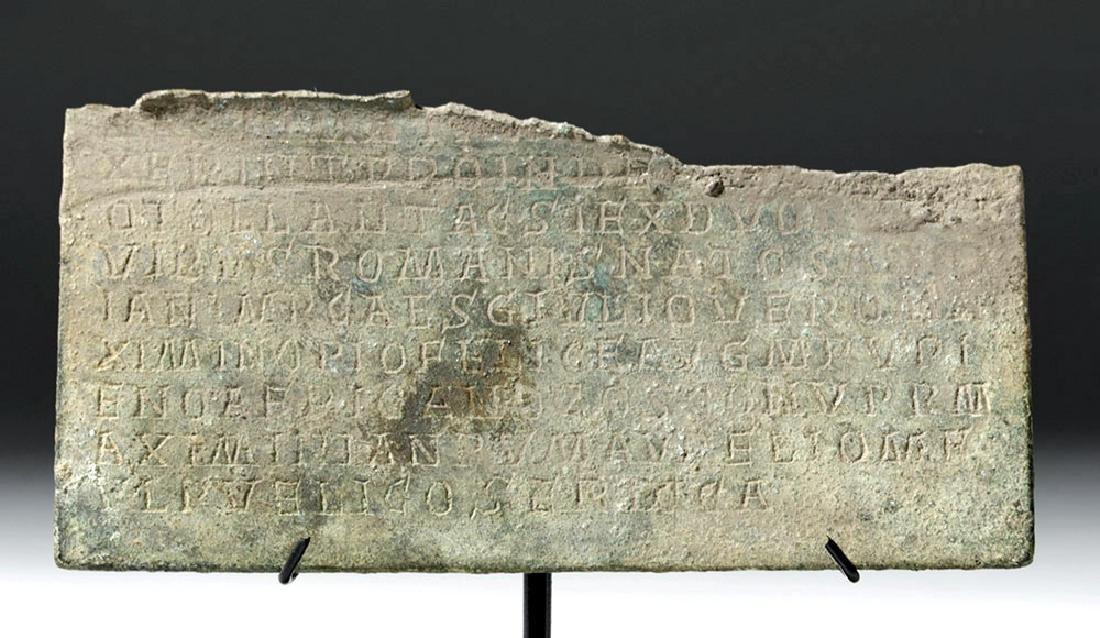 Rare Section of Roman Bronze Military Diploma