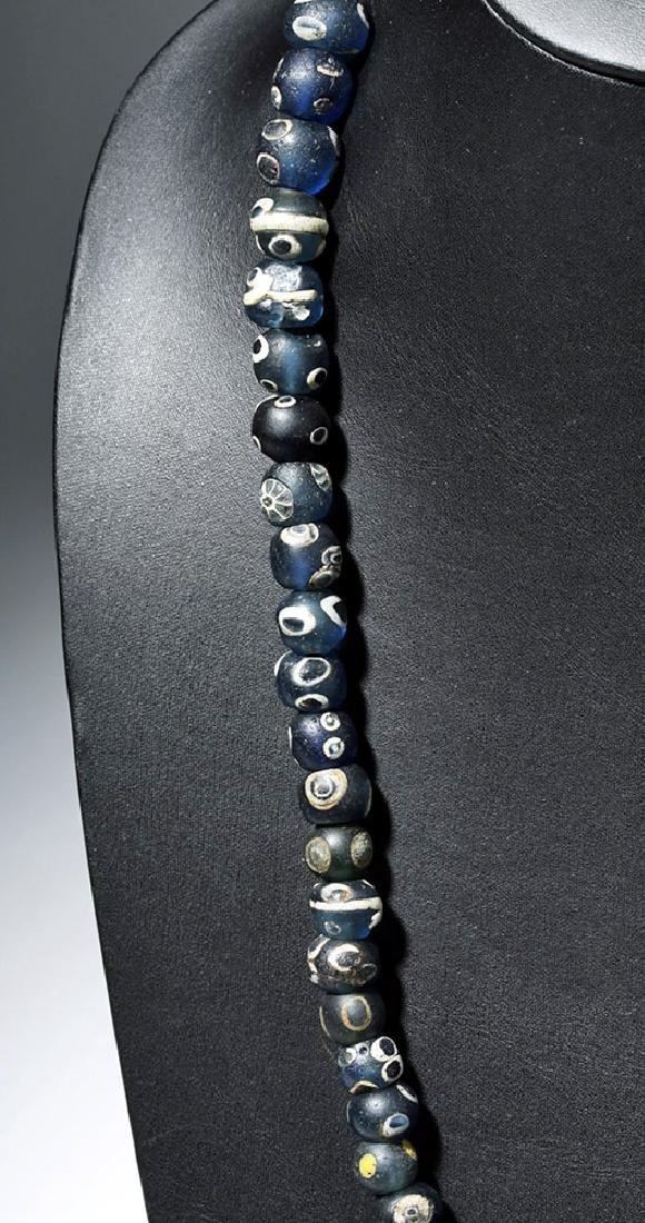 Strand of 71 Incredible Early Roman Glass Eye Beads - 3